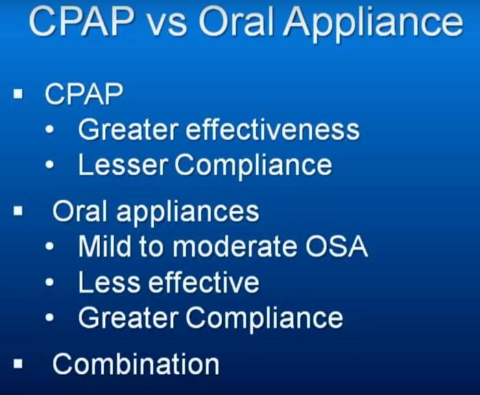CPAP vs Oral Appliances