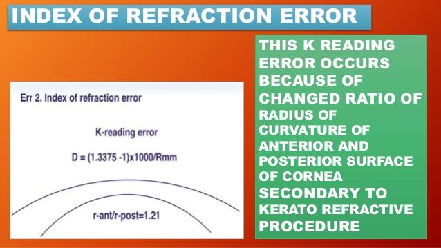 Keratometric index error